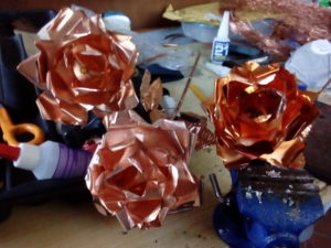 hand made natural copper and fire-worked copper roses